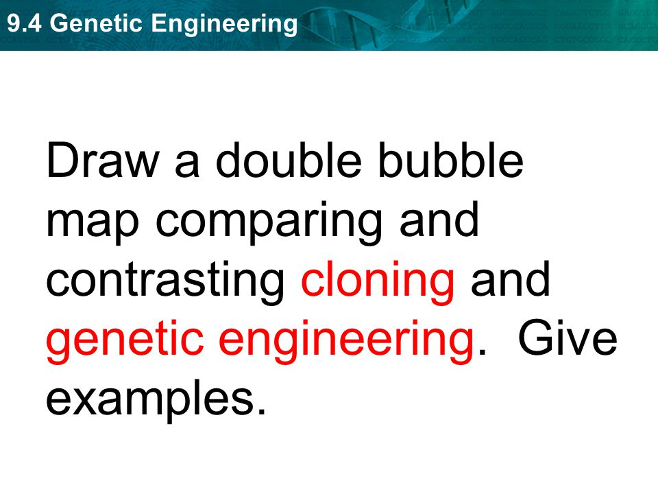 Draw a double bubble map comparing and contrasting cloning and genetic engineering. Give examples.