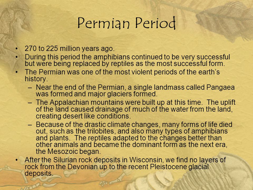 Permian Period 270 to 225 million years ago.