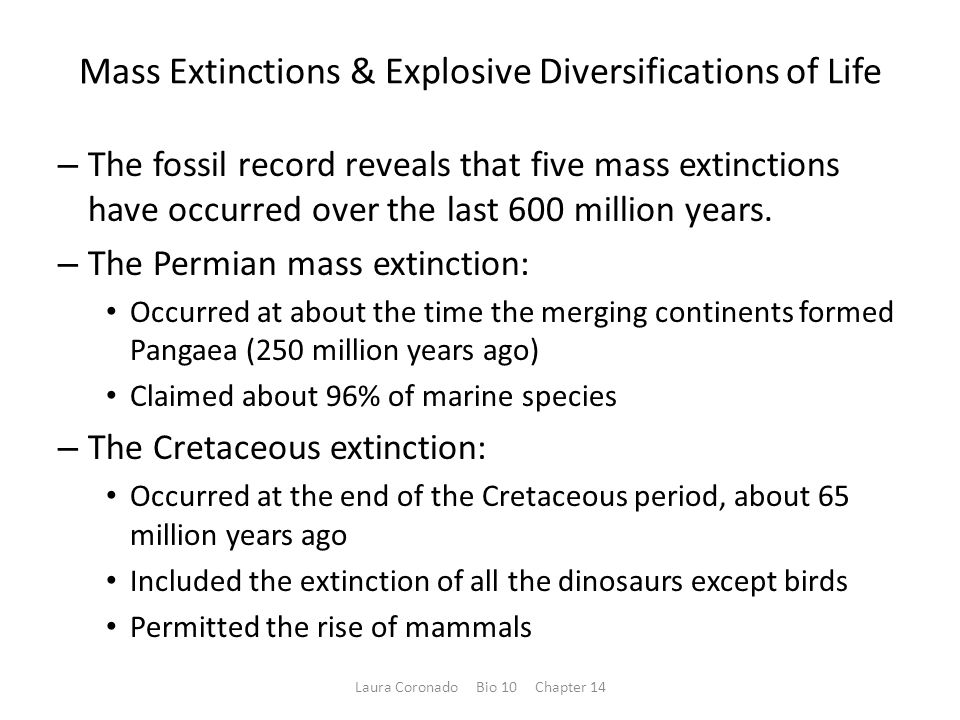 Mass Extinctions & Explosive Diversifications of Life