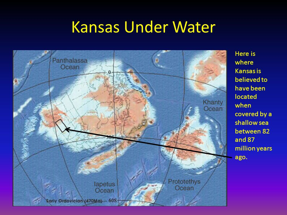 Kansas Under Water Here is where Kansas is believed to have been located when covered by a shallow sea between 82 and 87 million years ago.