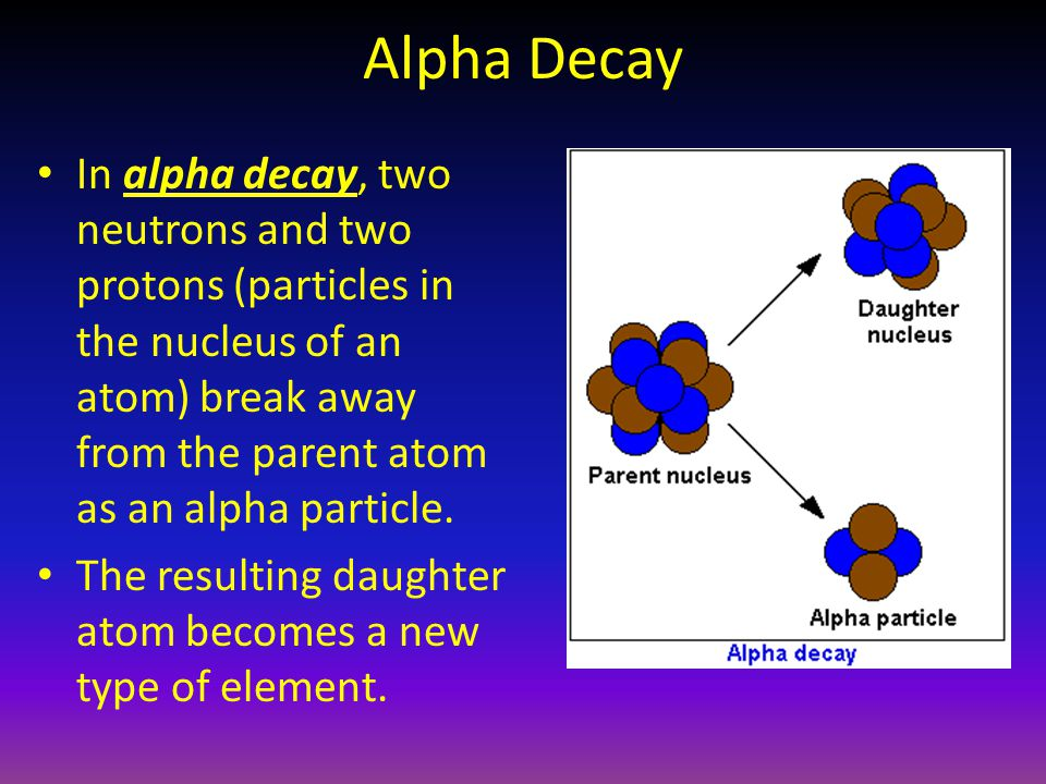 Alpha Decay In alpha decay, two neutrons and two protons (particles in the nucleus of an atom) break away from the parent atom as an alpha particle.