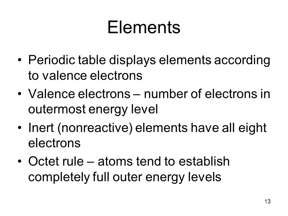 Elements Periodic table displays elements according to valence electrons. Valence electrons – number of electrons in outermost energy level.