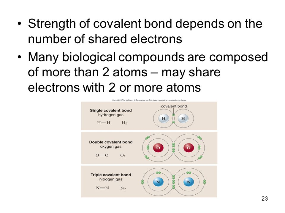 Strength of covalent bond depends on the number of shared electrons