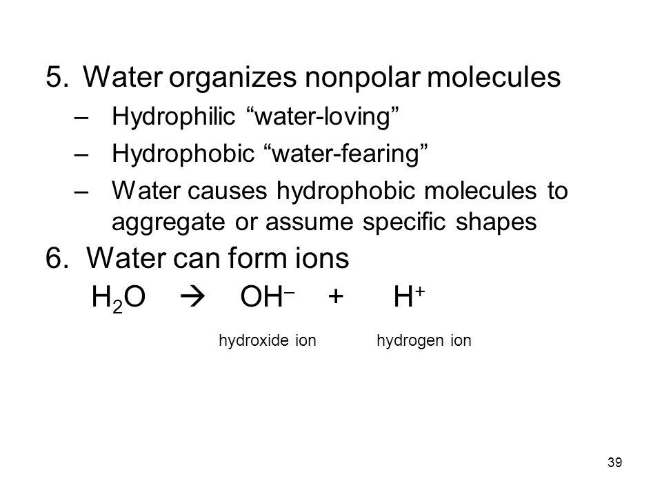Water organizes nonpolar molecules