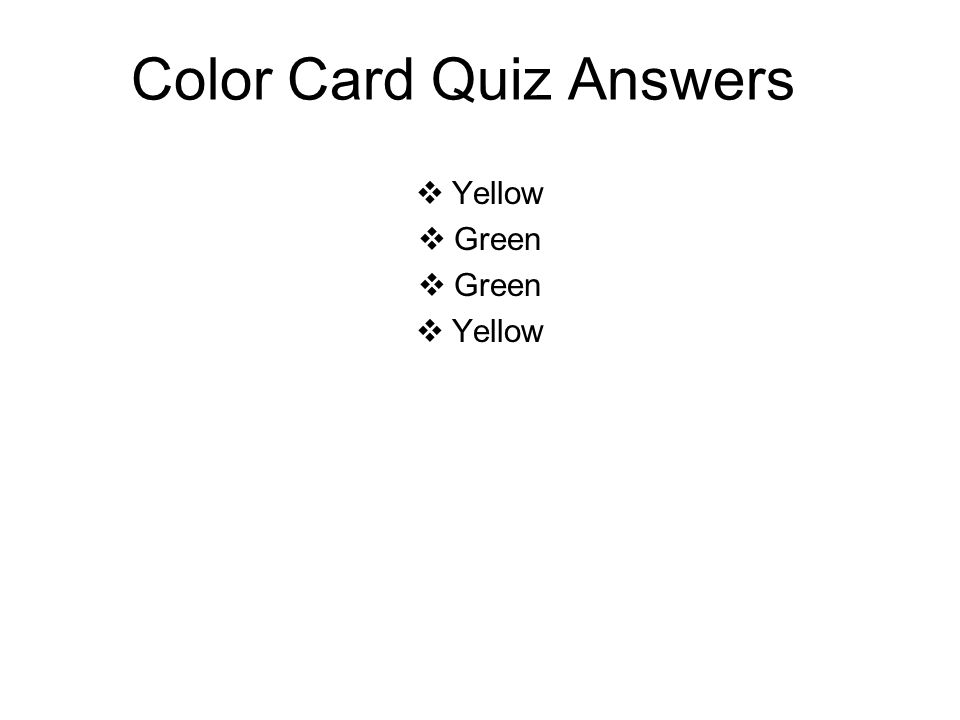 Color Card Quiz Answers