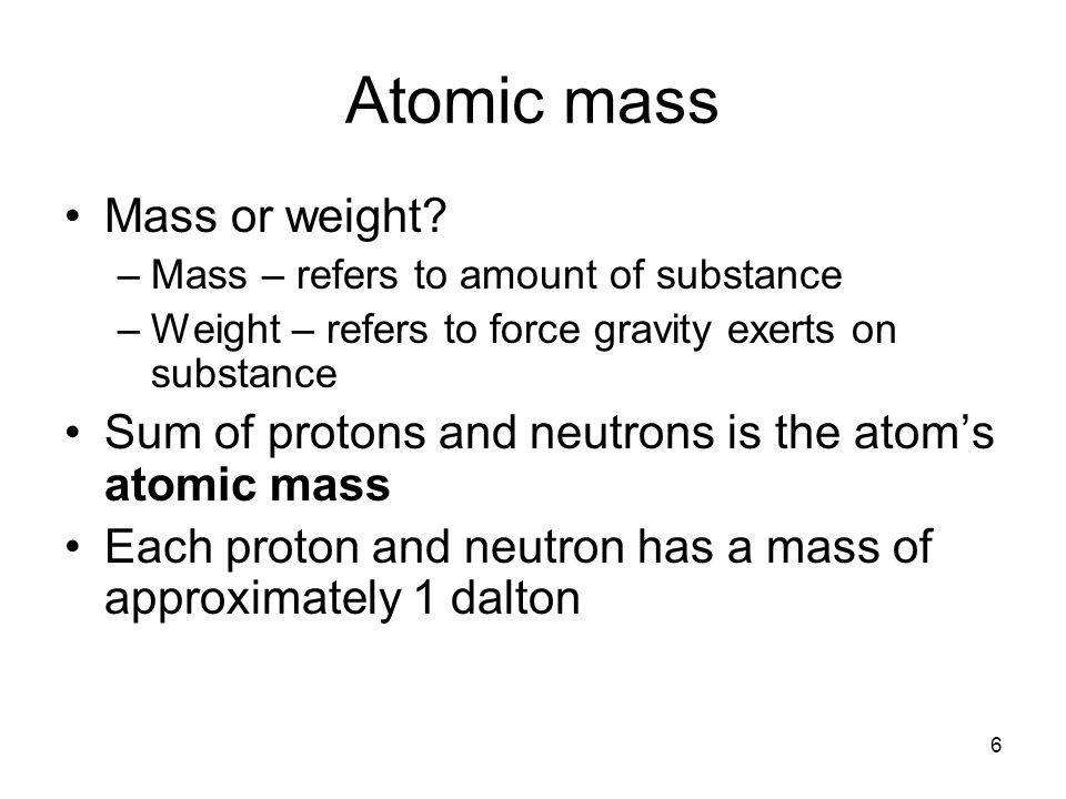 Atomic mass Mass or weight