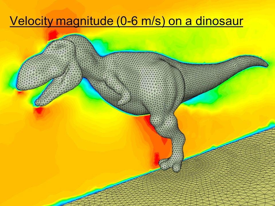 Velocity magnitude (0-6 m/s) on a dinosaur