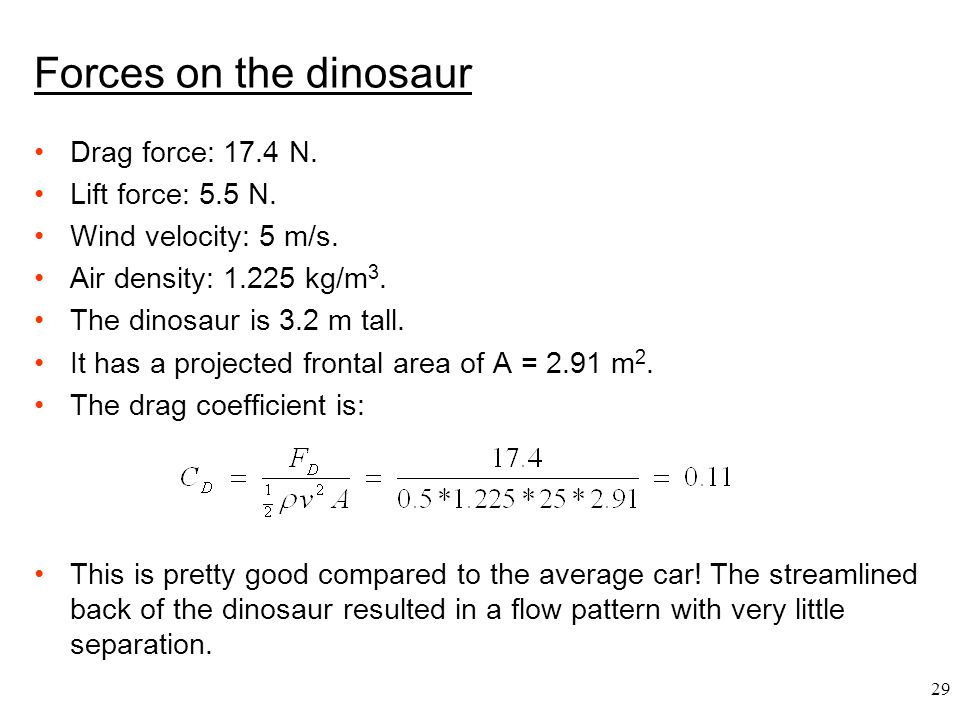 Forces on the dinosaur Drag force: 17.4 N. Lift force: 5.5 N.