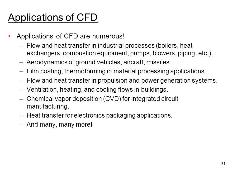 Applications of CFD Applications of CFD are numerous!