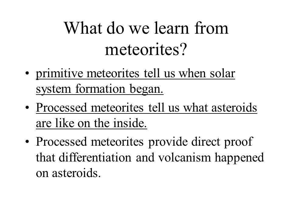 What do we learn from meteorites