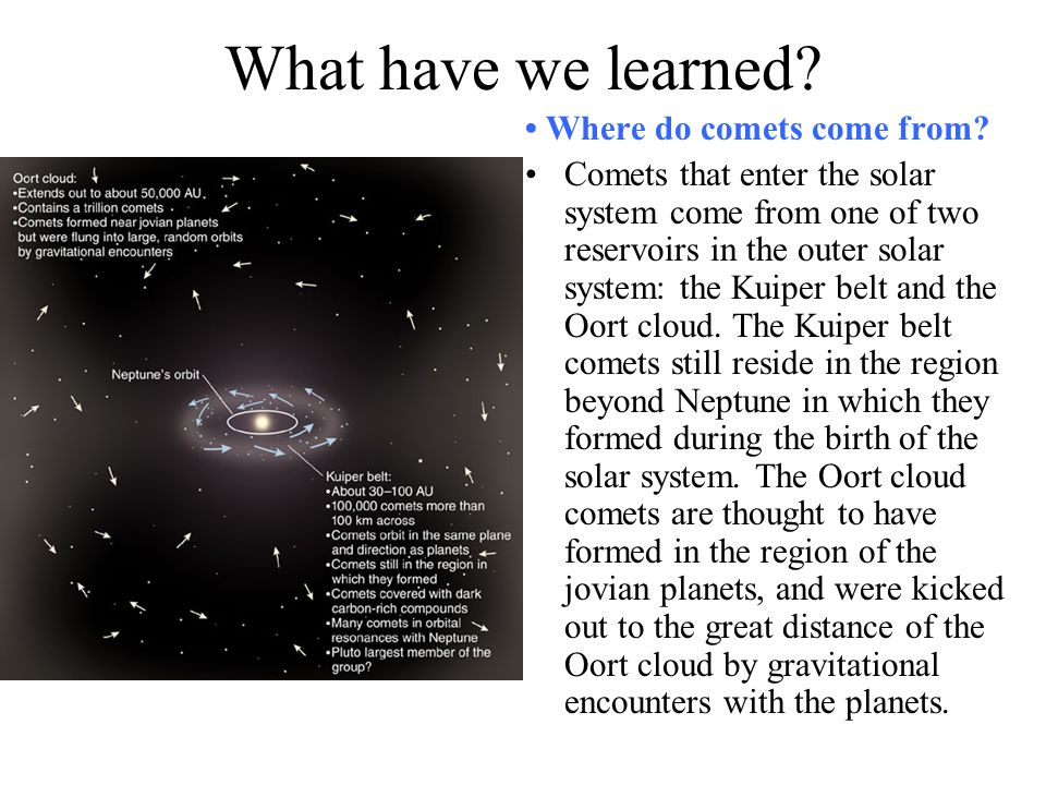 What have we learned • Where do comets come from