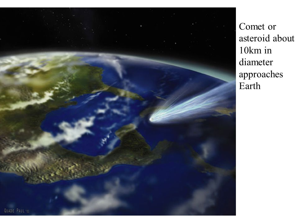 Comet or asteroid about 10km in diameter approaches Earth