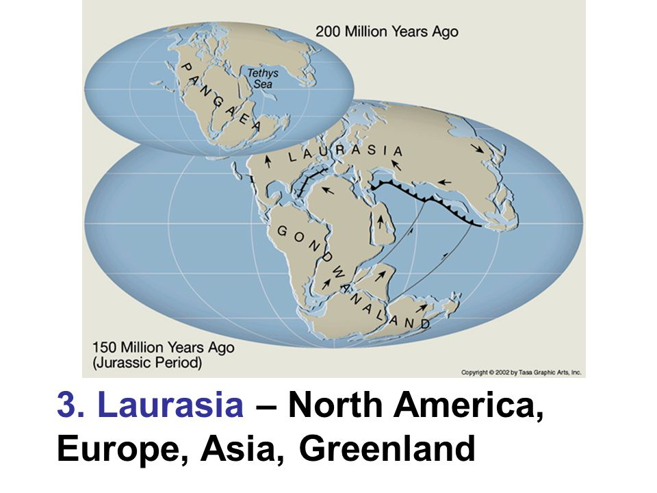 3. Laurasia – North America, Europe, Asia, Greenland