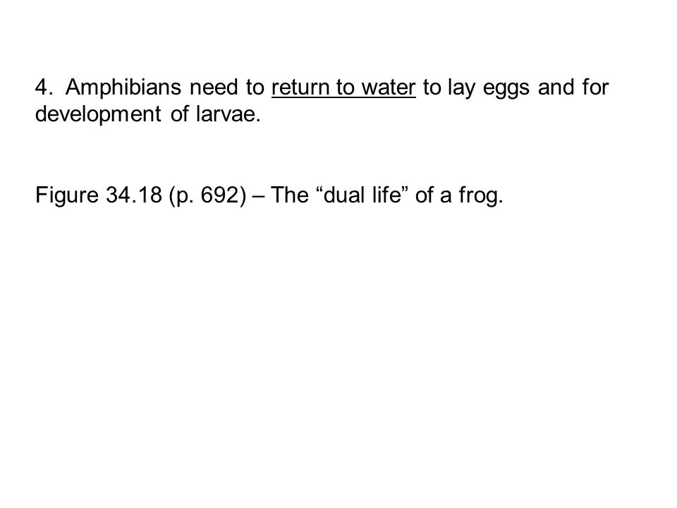 4. Amphibians need to return to water to lay eggs and for development of larvae.