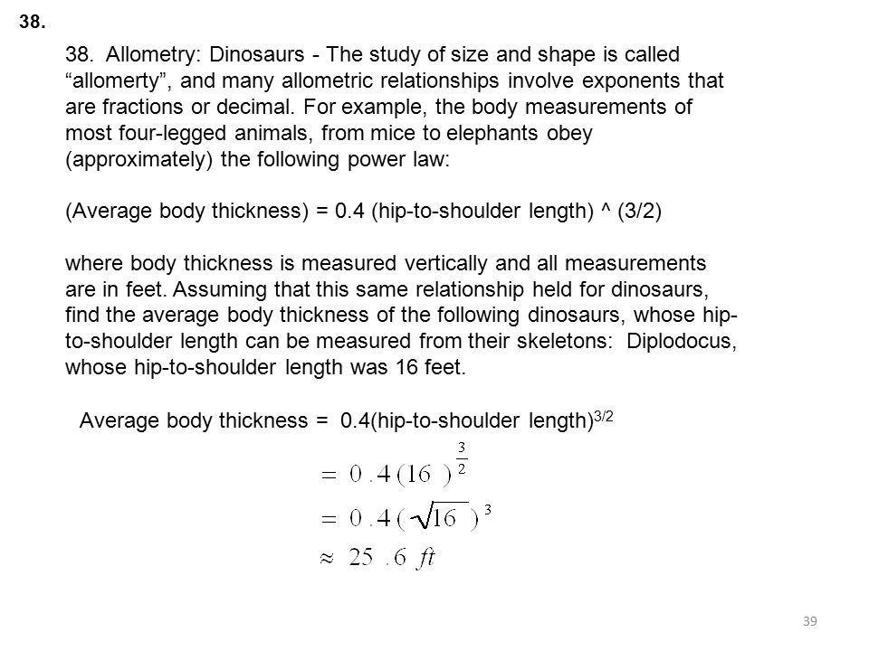 (Average body thickness) = 0.4 (hip-to-shoulder length) ^ (3/2)