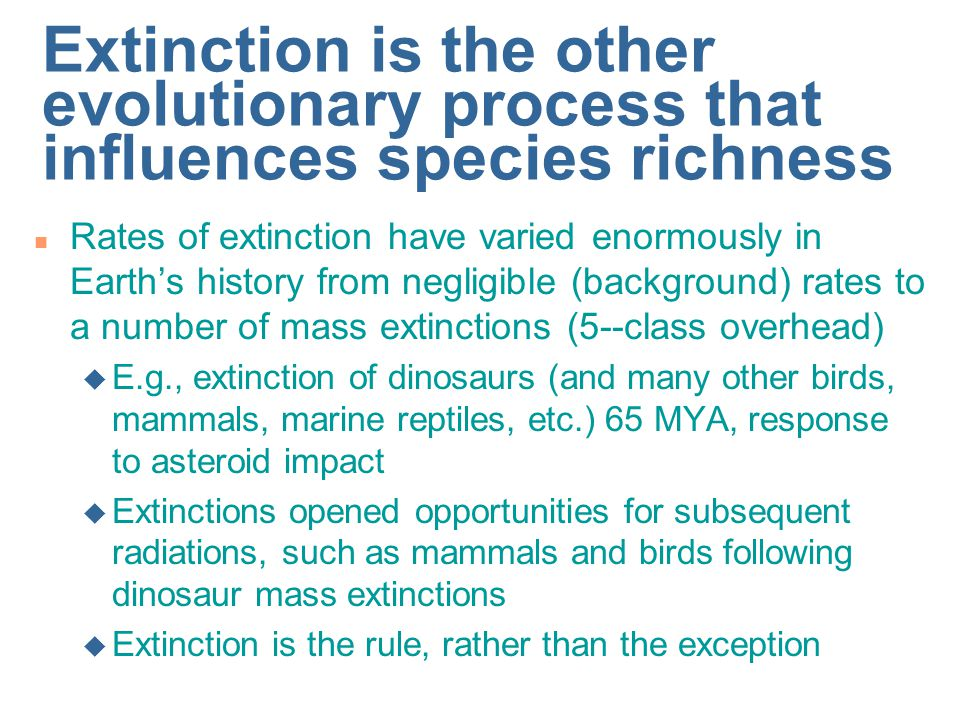 Extinction is the other evolutionary process that influences species richness
