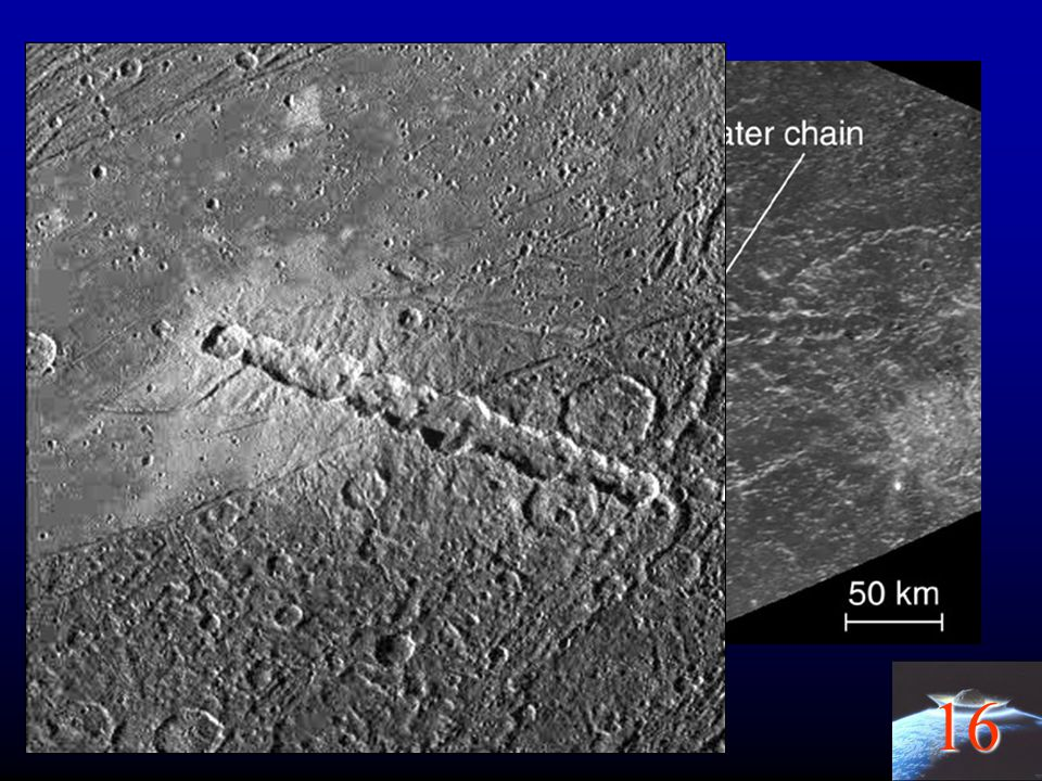Chain of craters on Callisto, of another comet torn apart by tidal forces from Jupiter.