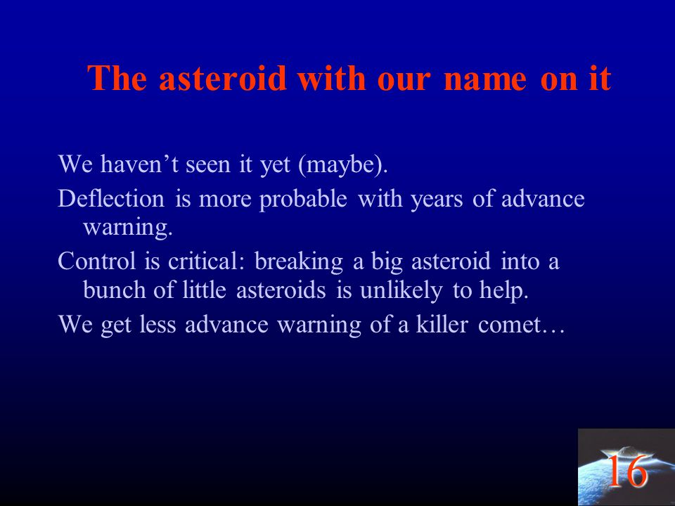 The asteroid with our name on it