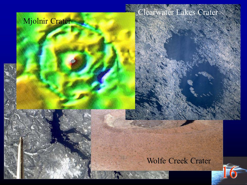 Earth Clearwater Lakes Crater Mjolnir Crater Manicouagan Crater