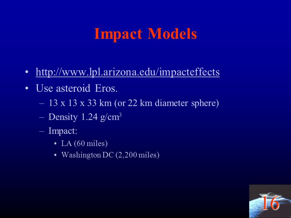 Impact Models http://www.lpl.arizona.edu/impacteffects