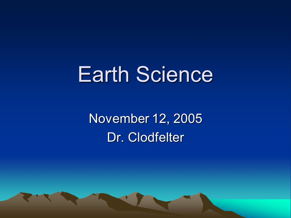 November 12, 2005 Dr. Clodfelter