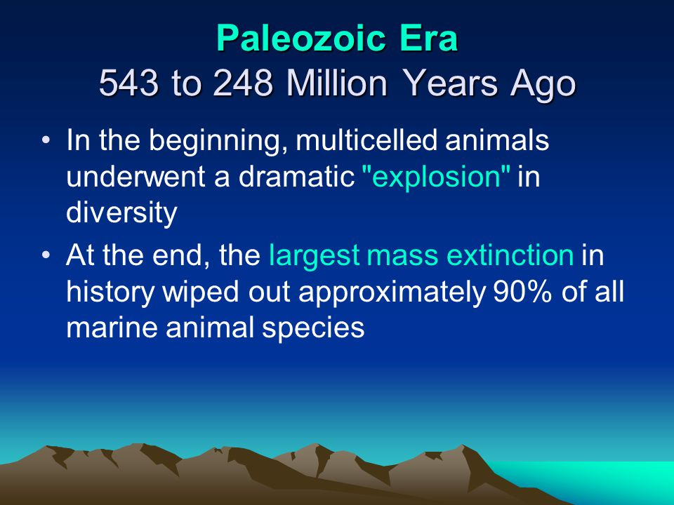 Paleozoic Era 543 to 248 Million Years Ago