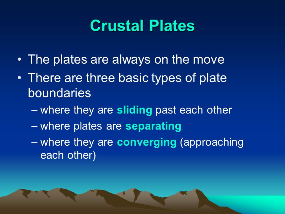 Crustal Plates The plates are always on the move
