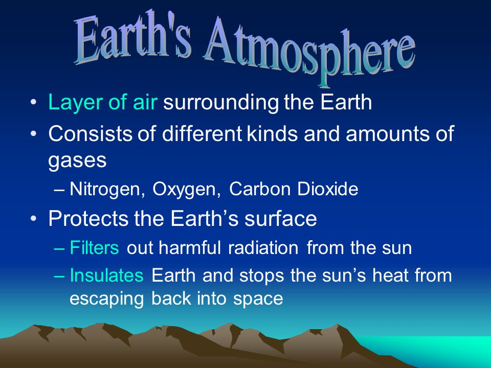 Earth s Atmosphere Layer of air surrounding the Earth