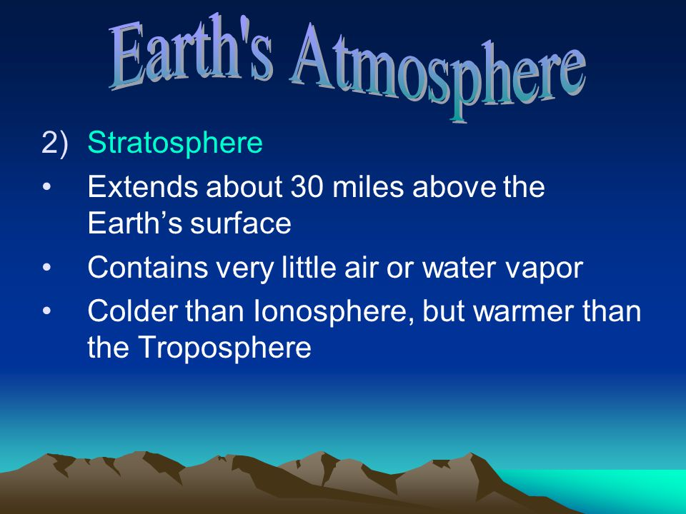 Earth s Atmosphere Stratosphere