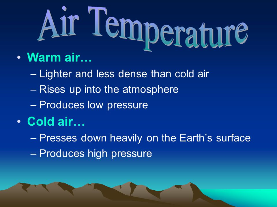 Air Temperature Warm air… Cold air…