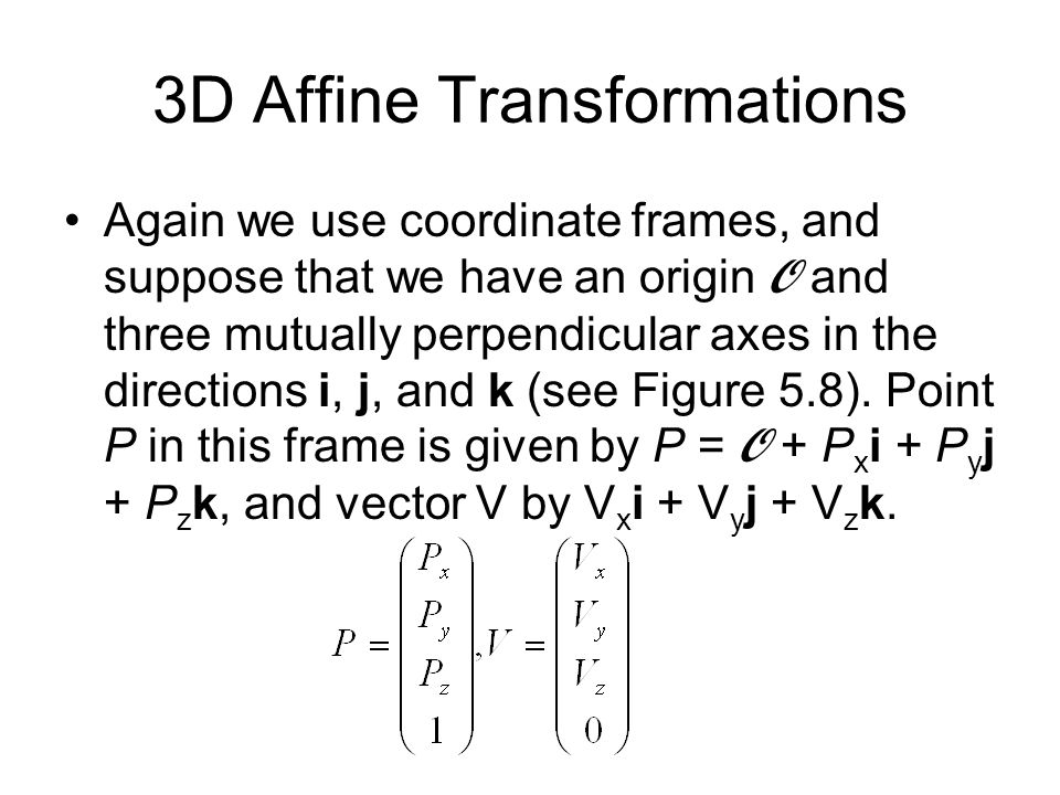 3D Affine Transformations