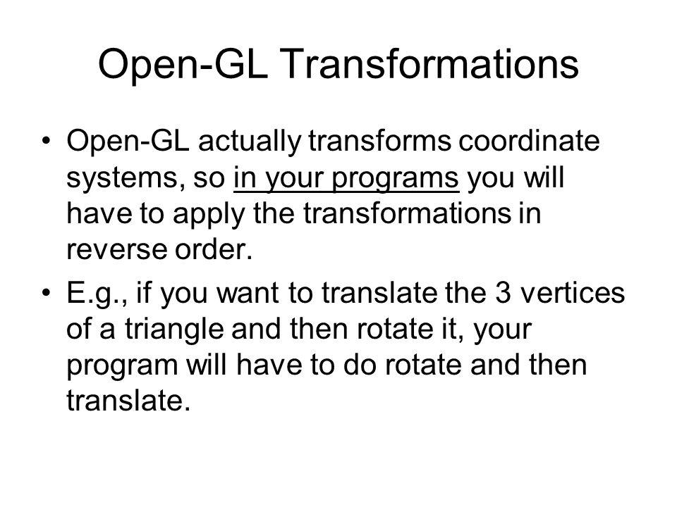 Open-GL Transformations