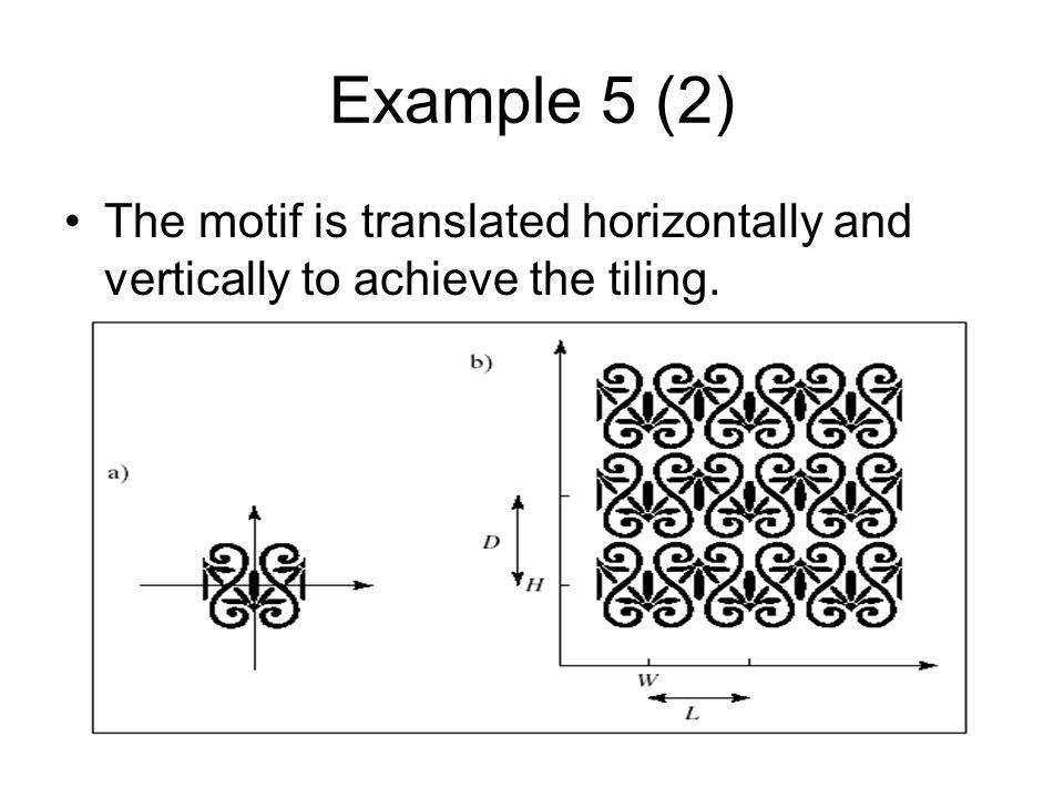 Example 5 (2) The motif is translated horizontally and vertically to achieve the tiling.