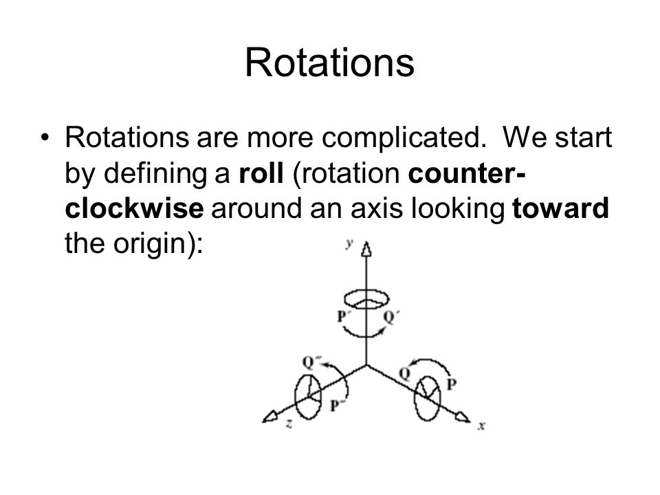 Rotations Rotations are more complicated.