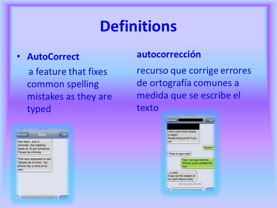 Definitions autocorrección AutoCorrect