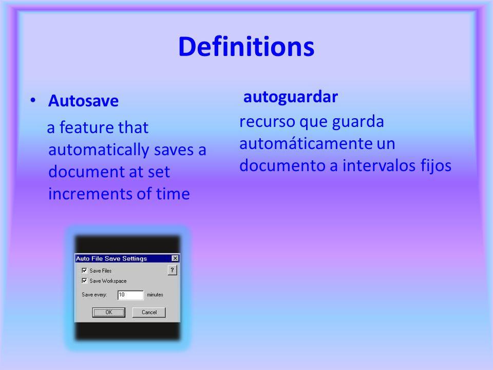 Definitions autoguardar Autosave