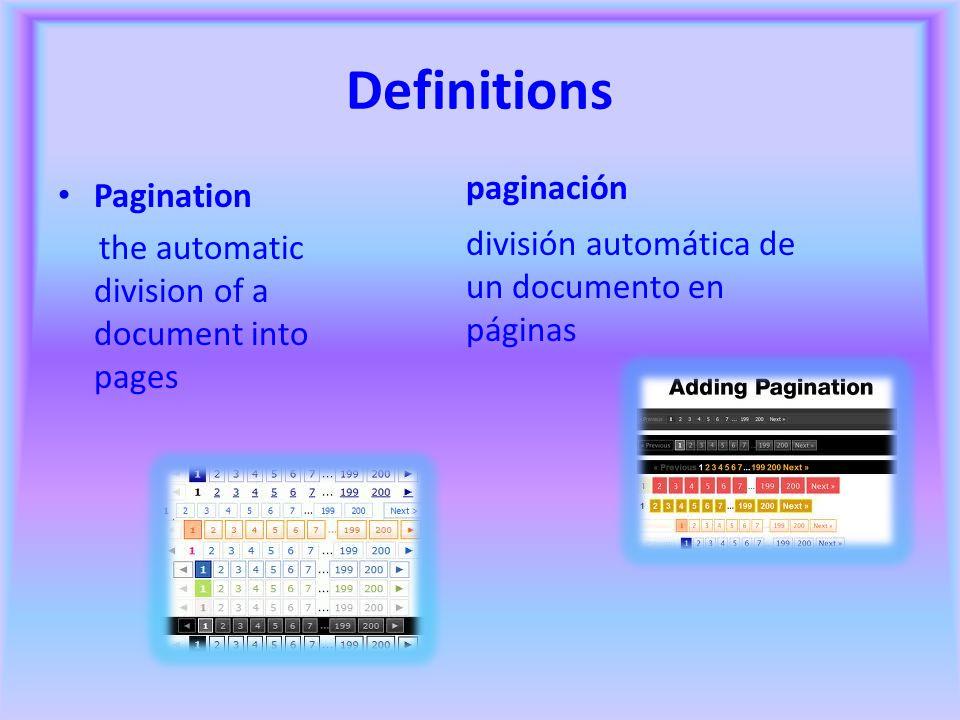 Definitions paginación Pagination