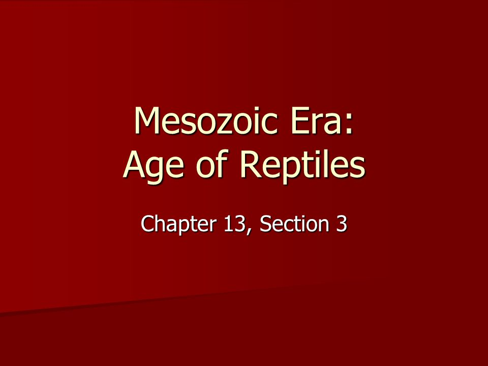 Mesozoic Era: Age of Reptiles