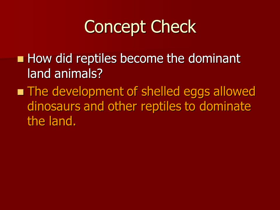 Concept Check How did reptiles become the dominant land animals