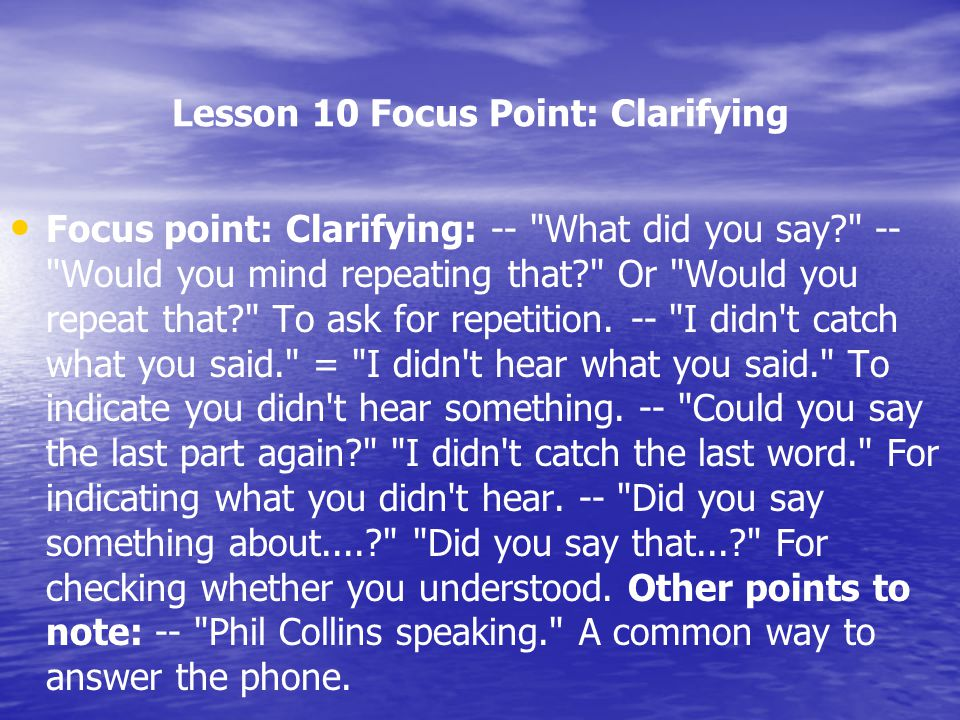 Lesson 10 Focus Point: Clarifying