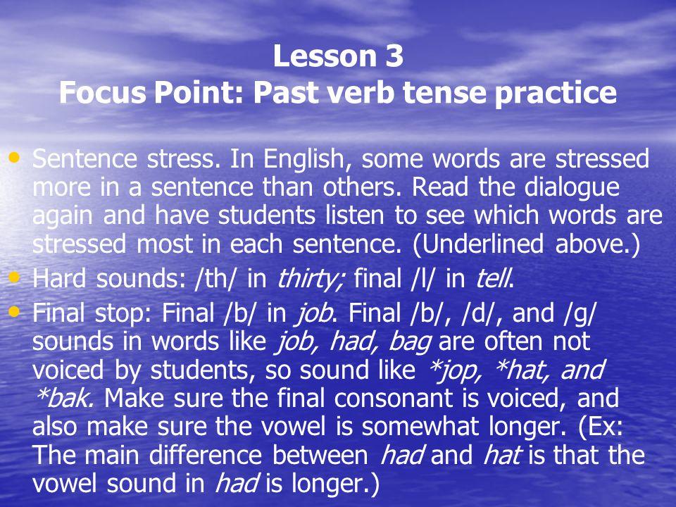 Lesson 3 Focus Point: Past verb tense practice