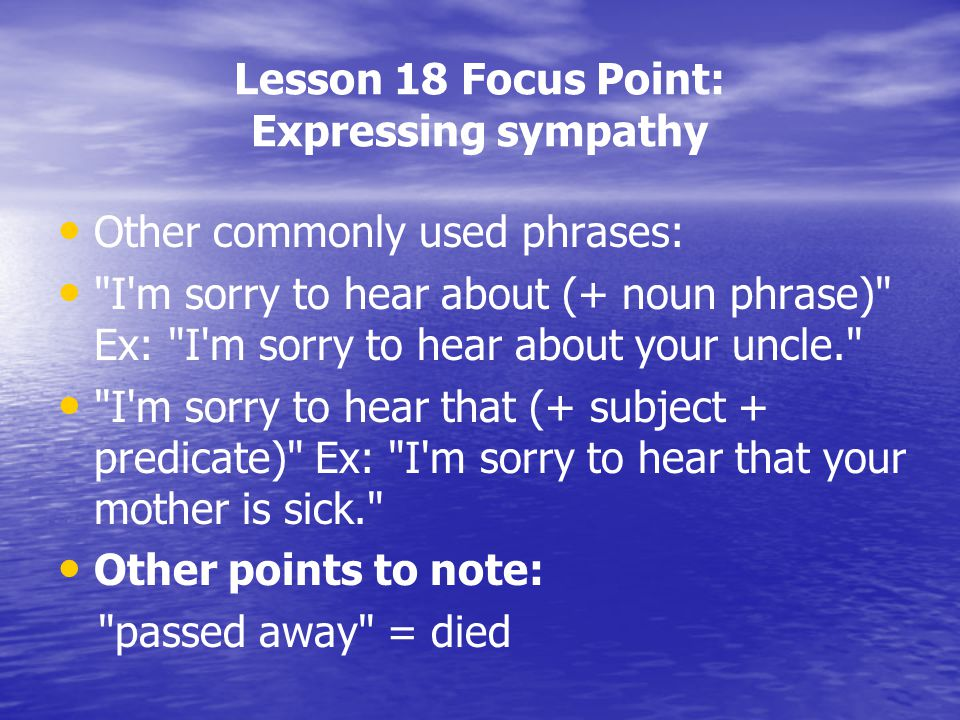 Lesson 18 Focus Point: Expressing sympathy