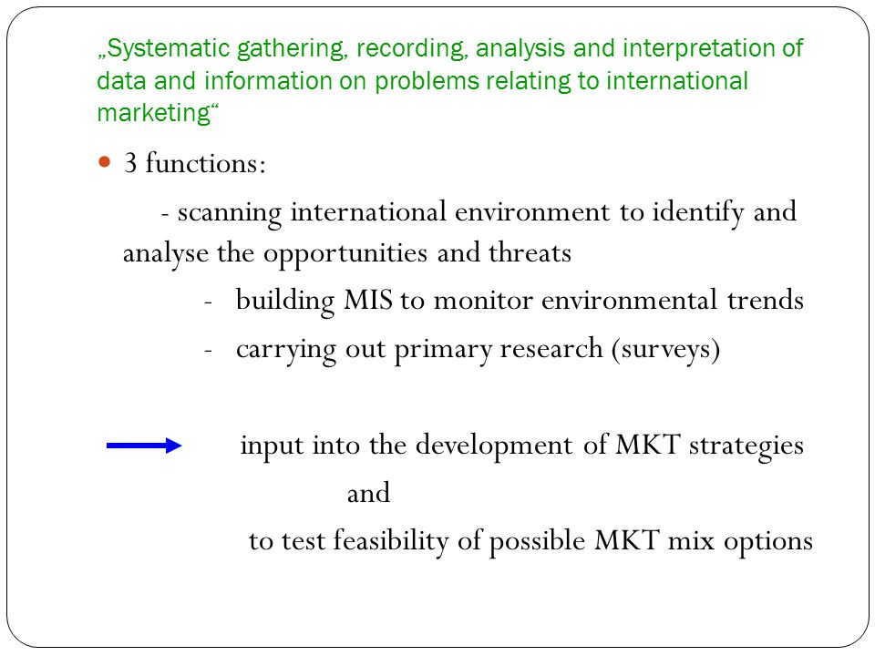 - building MIS to monitor environmental trends