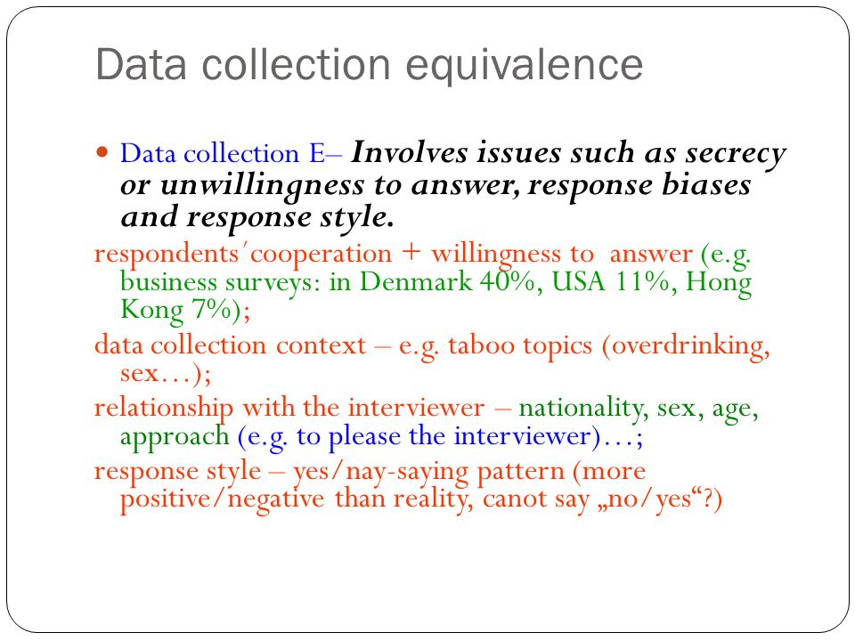Data collection equivalence