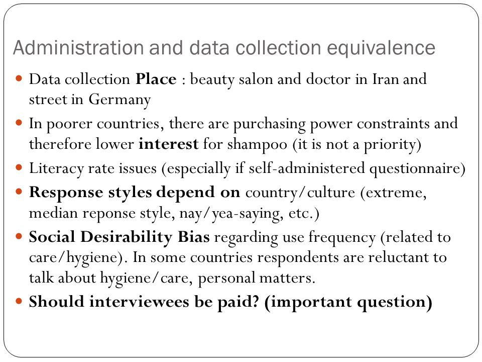 Administration and data collection equivalence