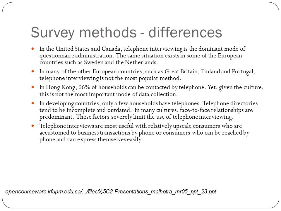 Survey methods - differences