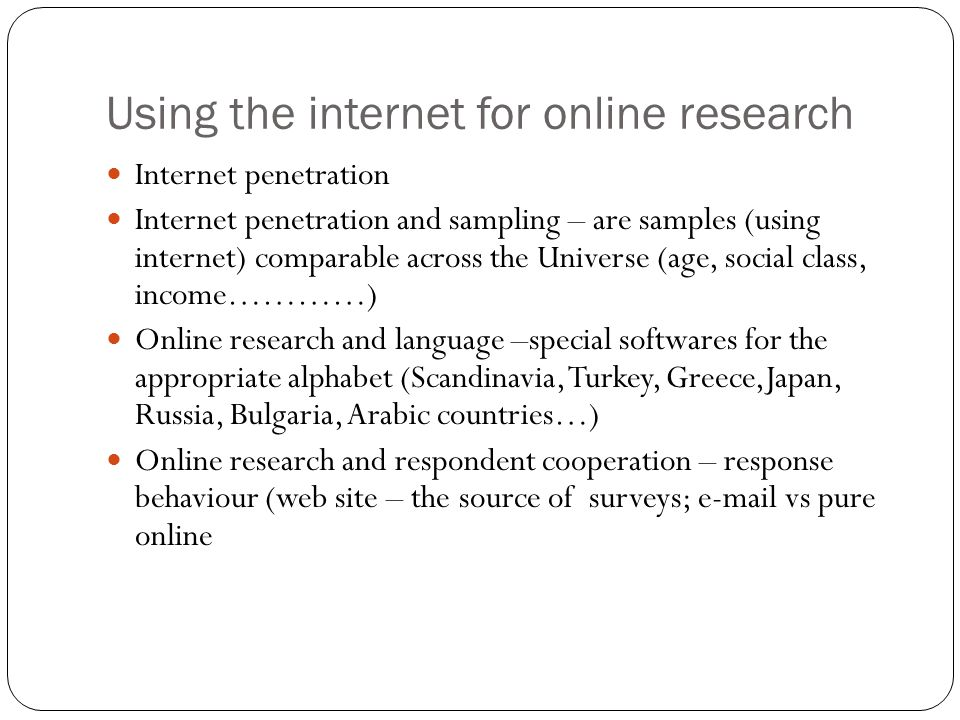 Using the internet for online research