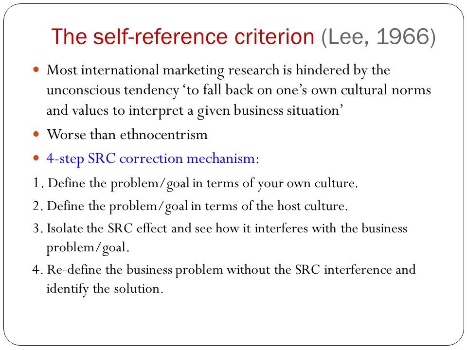 The self-reference criterion (Lee, 1966)