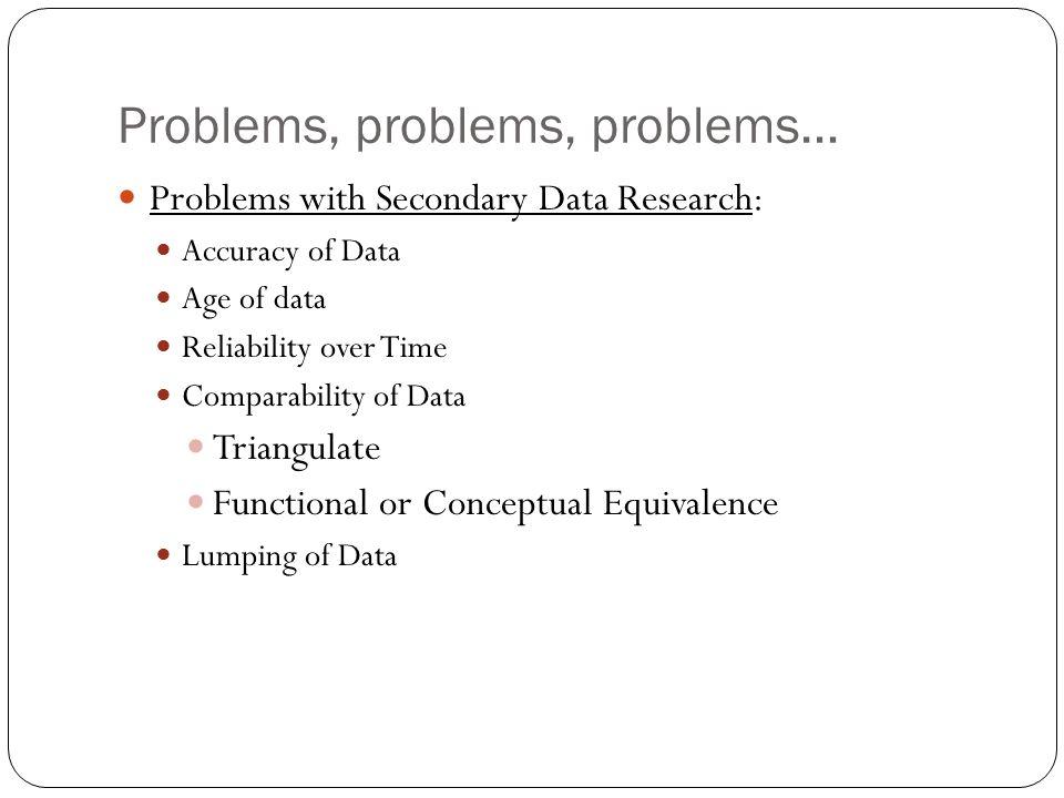 Problems, problems, problems…