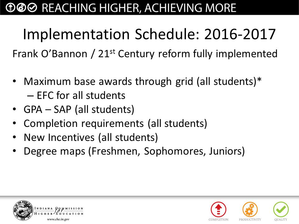 Implementation Schedule: 2016-2017